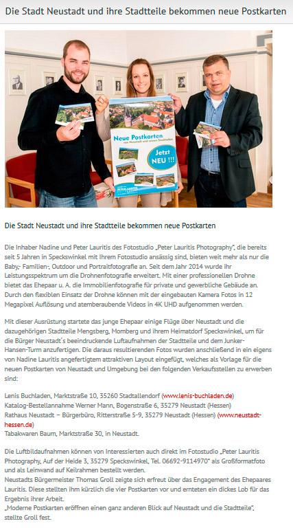 pressemitteilung neue postkarten neustadt hessen